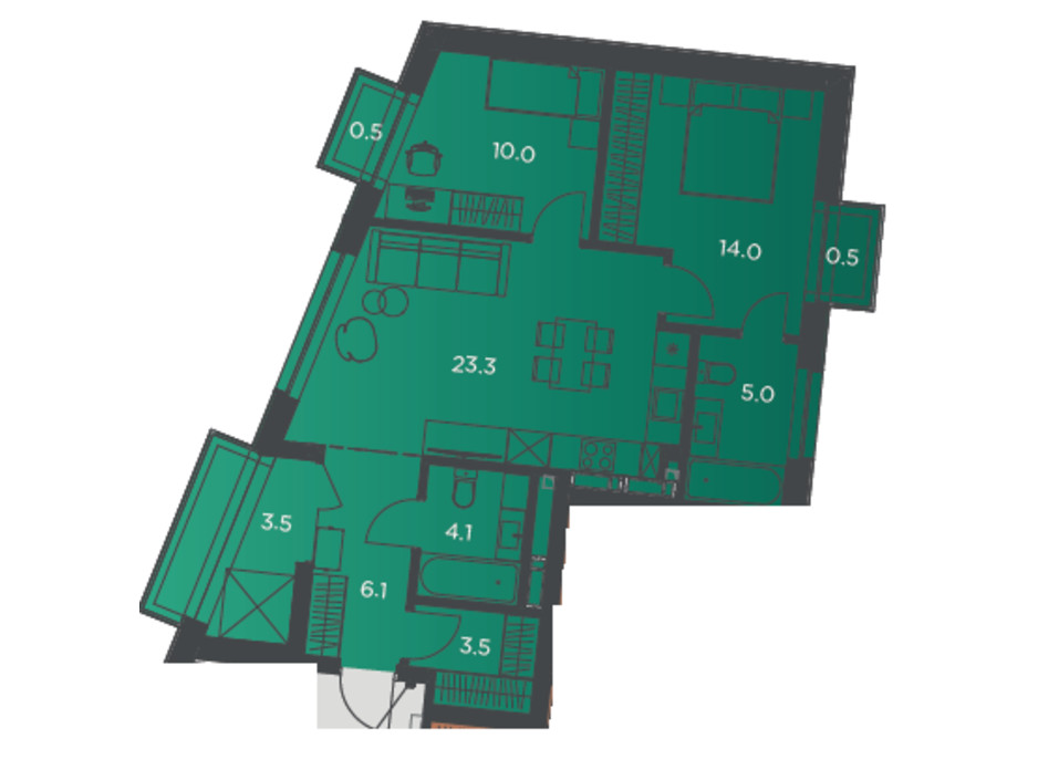 Планування 2-кімнатної квартири в Апарт-комплекс Pokrovsky Apart Complex 70 м², фото 178279