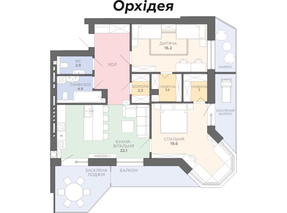Планування 3-кімнатної квартири в ЖК Яровиця 108.1 м², фото 178423