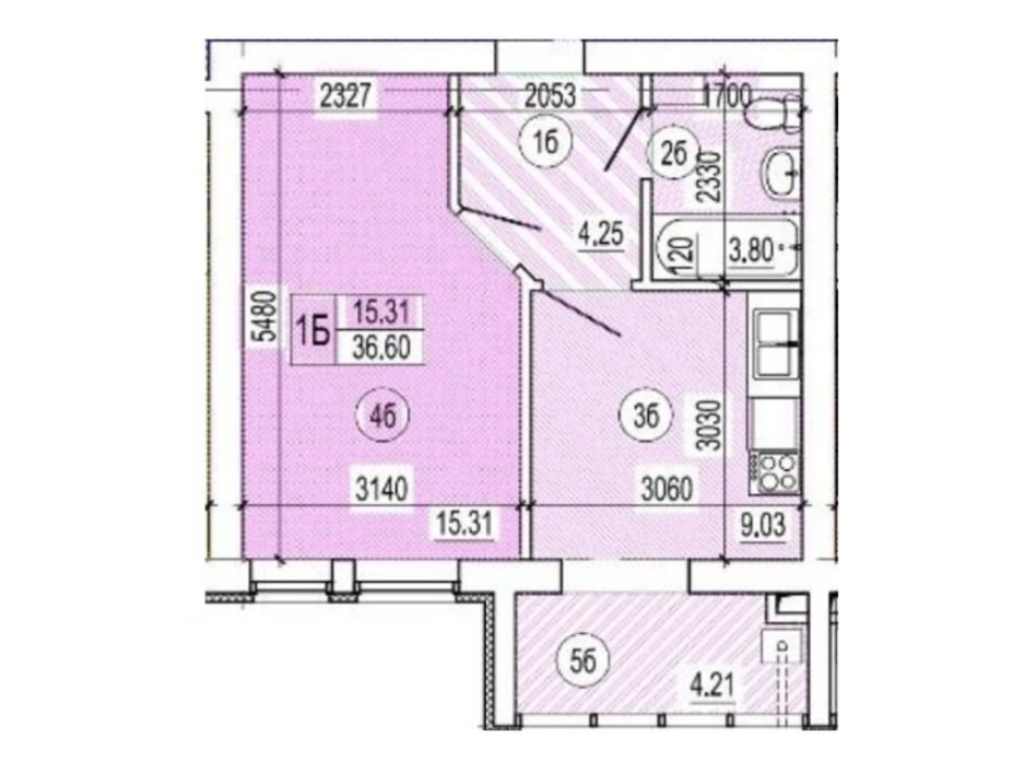 Планировка 1-комнатной квартиры в ЖК Семейный квартал 36.6 м², фото 178556