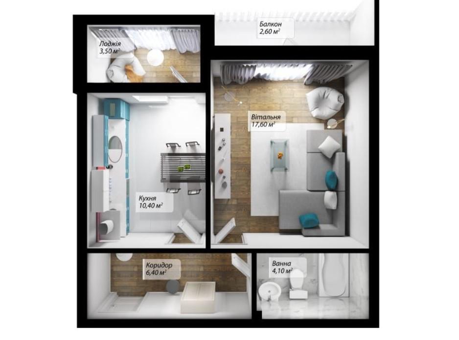 Планування 1-кімнатної квартири в ЖК Сенатор 44.6 м², фото 179541