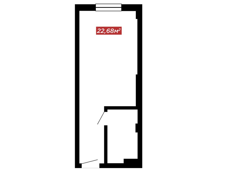 Планування 1-кімнатної квартири в ЖК IT-парк Manufactura Next 22.68 м², фото 179597