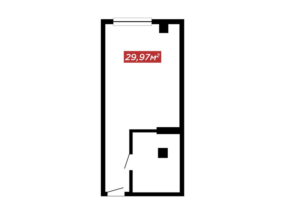 Планировка 1-комнатной квартиры в ЖК IT-парк Manufactura Next 29.97 м², фото 179599