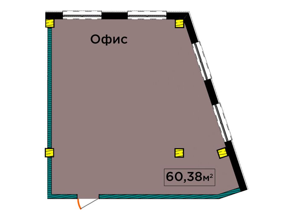 Планування 1-кімнатної квартири в ЖК IT-парк Manufactura Next 60.38 м², фото 179614