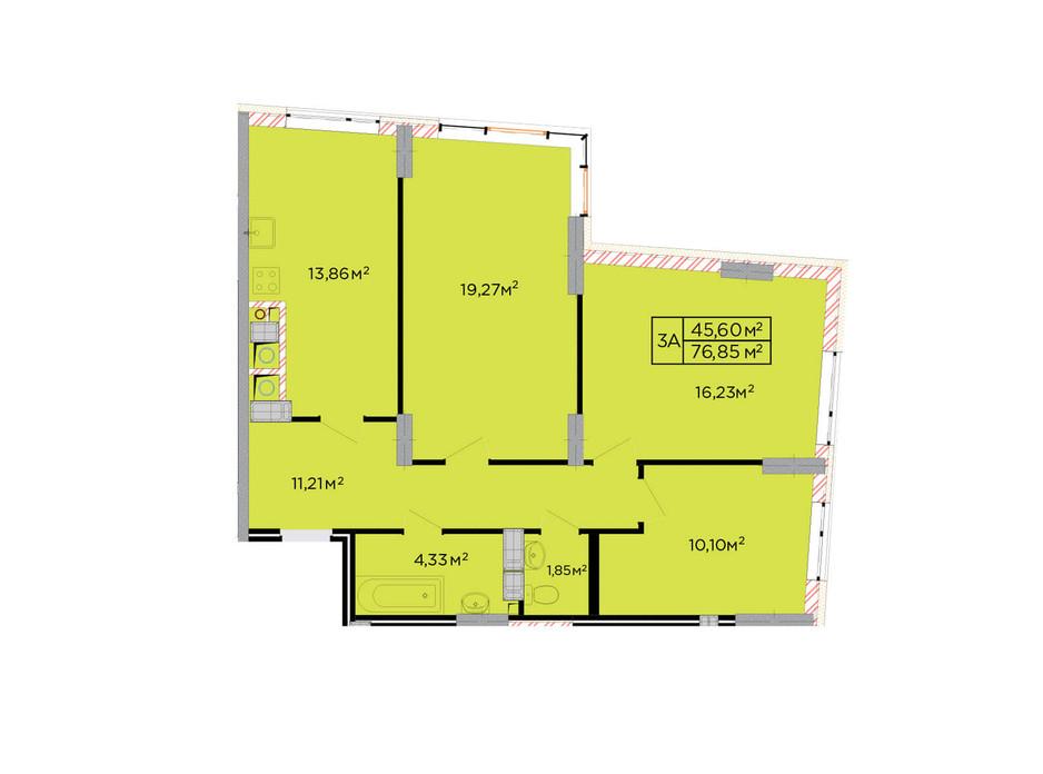 Планування 3-кімнатної квартири в ЖК Щасливий 77 м², фото 179818