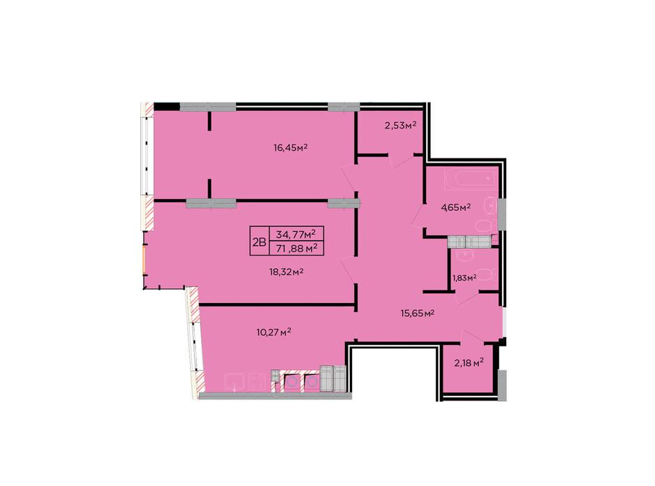 Планування 2-кімнатної квартири в ЖК Щасливий 72 м², фото 179822