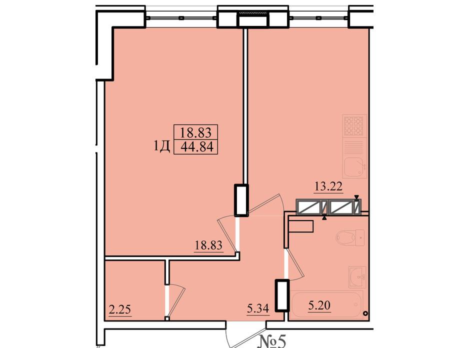 Планировка 1-комнатной квартиры в ЖК Морской 44.84 м², фото 179865