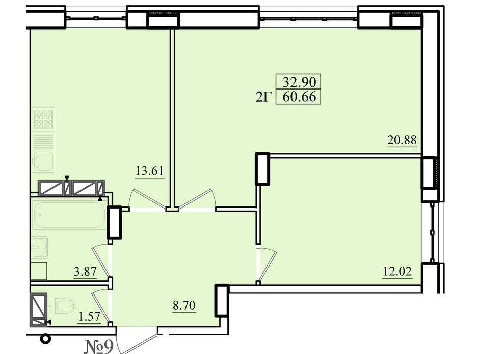 Планировка 2-комнатной квартиры в ЖК Морской 60.66 м², фото 179866