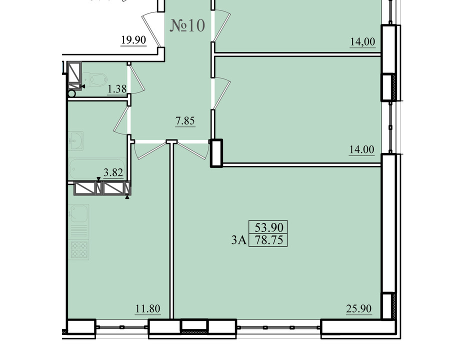 Планування 3-кімнатної квартири в ЖК Морський 79 м², фото 179868