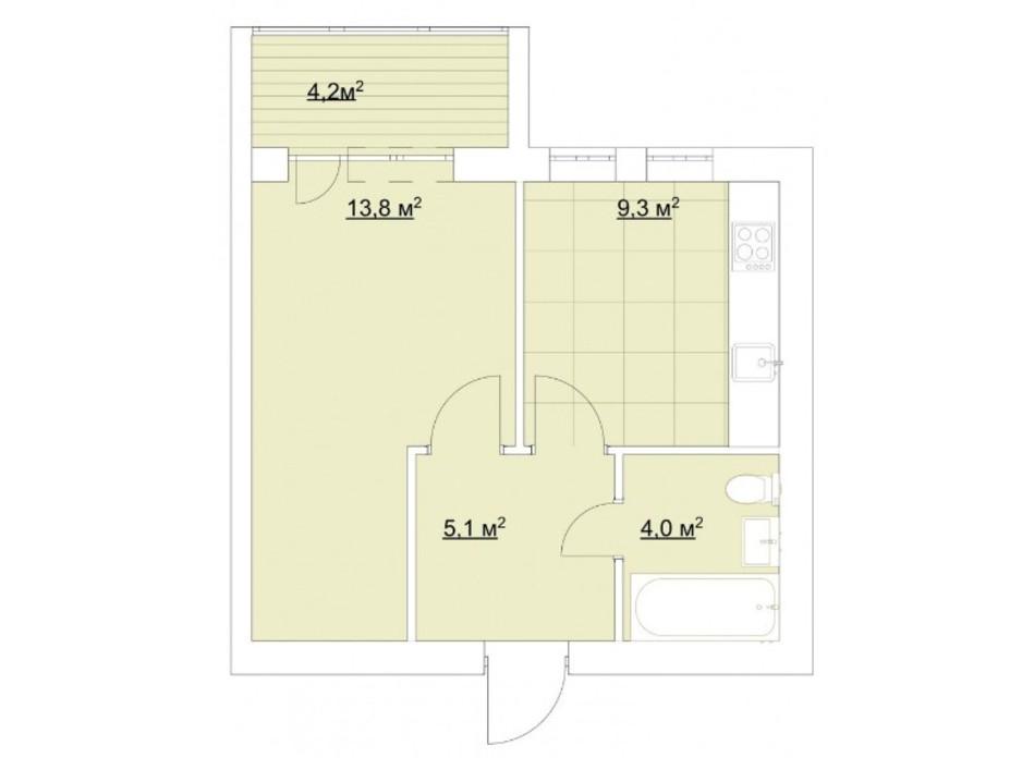 Планировка 1-комнатной квартиры в ЖК Гранд Виллас 36.4 м², фото 181125