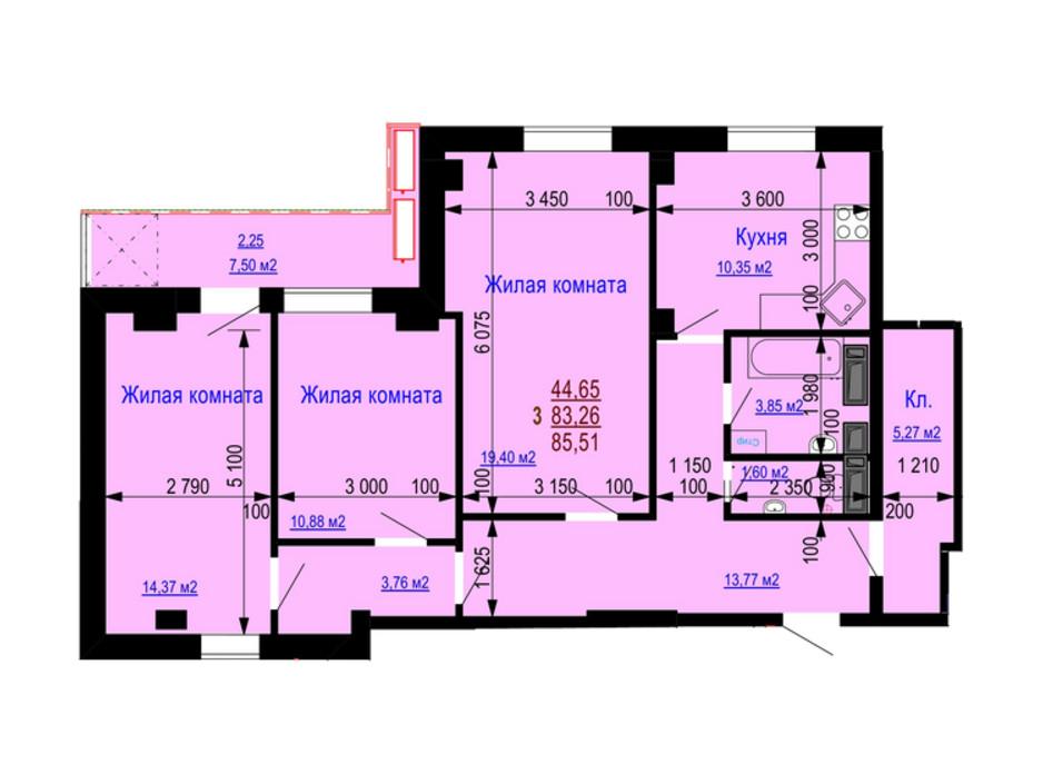 Планування 3-кімнатної квартири в ЖК Дім на Зерновій 85.51 м², фото 181172