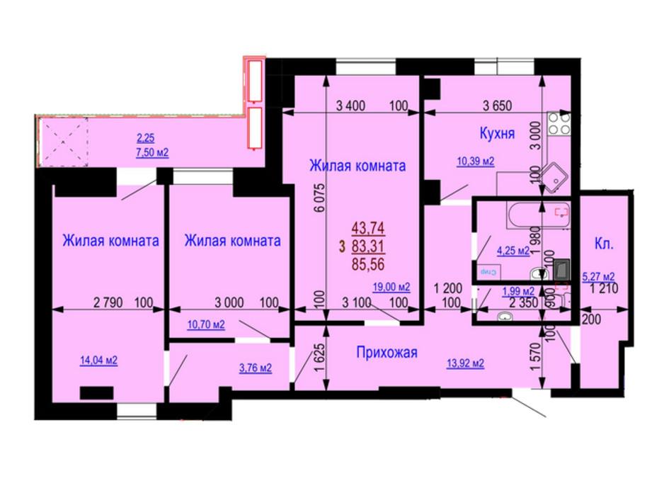 Планування 3-кімнатної квартири в ЖК Дім на Зерновій 85.56 м², фото 181173