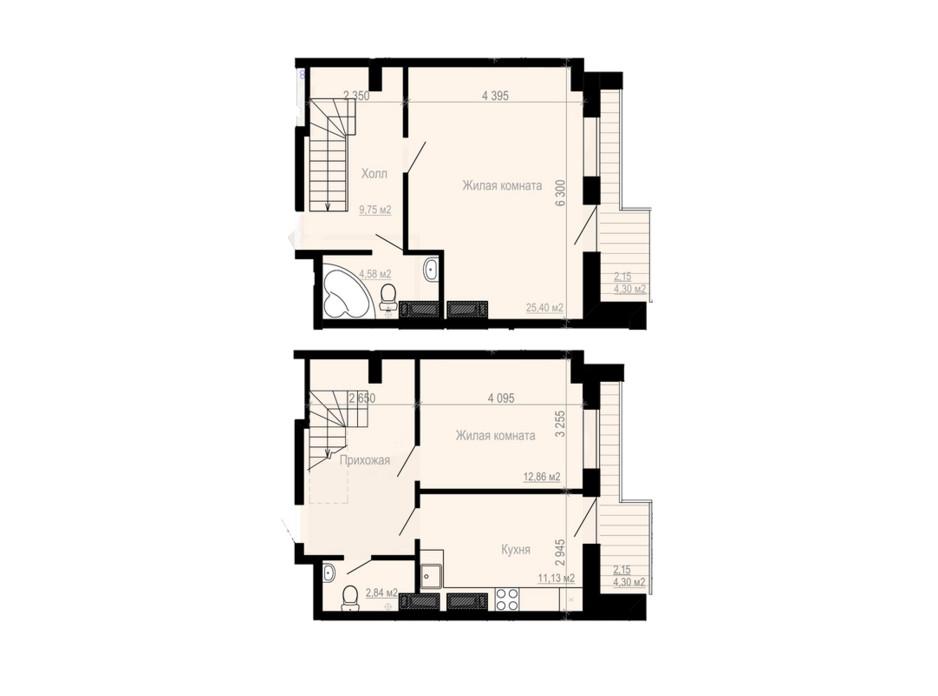 Планування багаторівневої квартири в ЖК Дім на Зерновій 80.29 м², фото 181191
