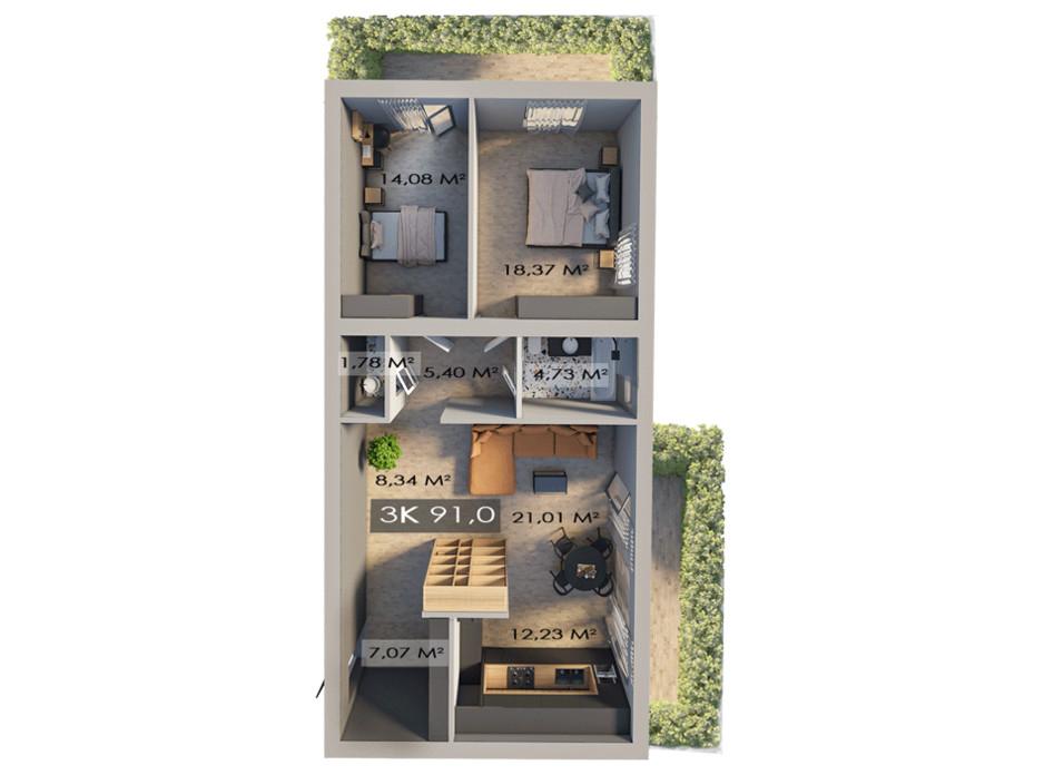 Планировка 3-комнатной квартиры в ЖК Клубный городок 12 91 м², фото 181613