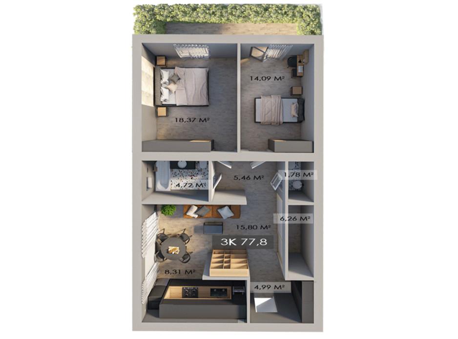 Планировка 3-комнатной квартиры в ЖК Клубный городок 12 77.8 м², фото 181624