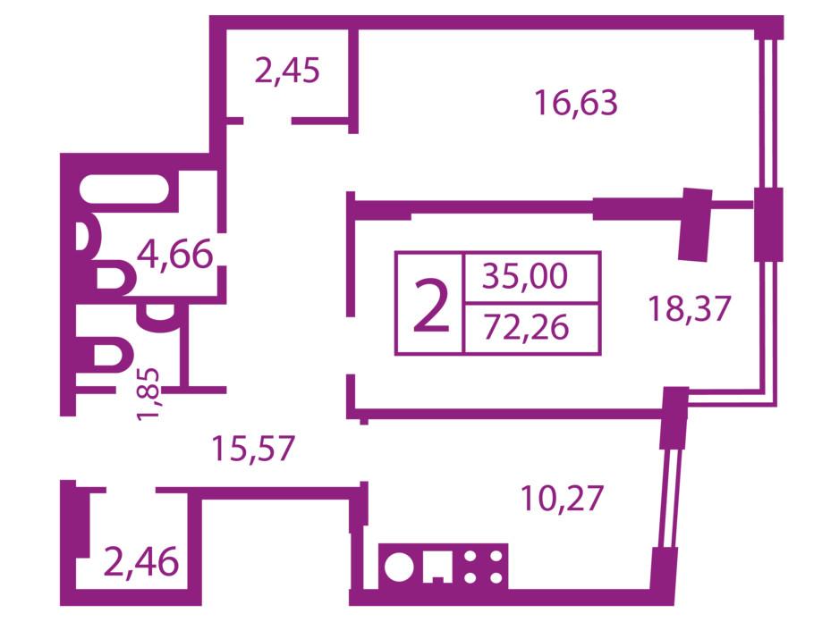 Планування 2-кімнатної квартири в ЖК Щасливий 72.26 м², фото 181682