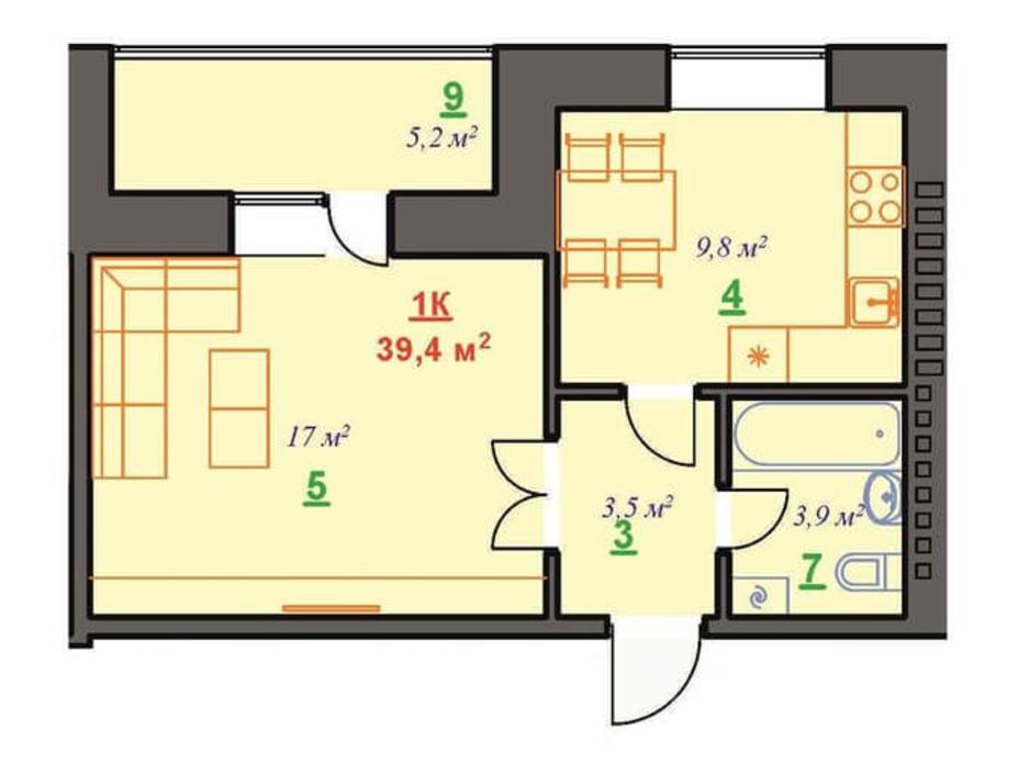 Планировка 1-комнатной квартиры в ЖК Юбилейный 39.4 м², фото 182110