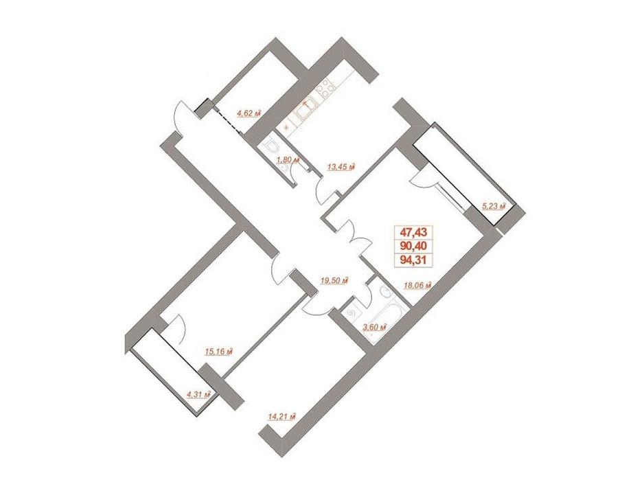 Планировка 3-комнатной квартиры в ЖК Юбилейный 95.79 м², фото 182113
