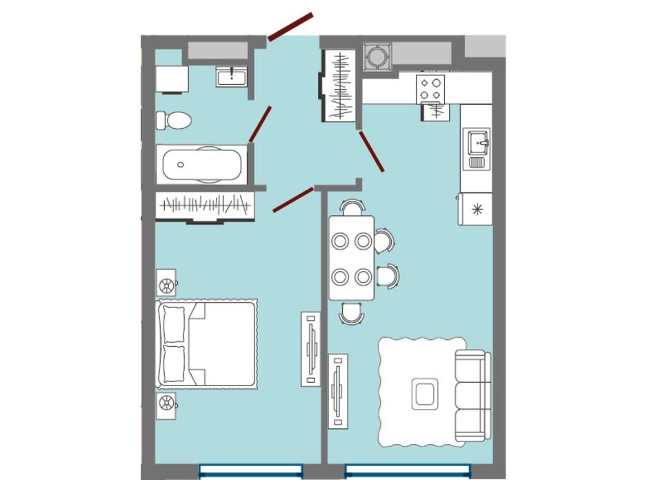 Планировка 1-комнатной квартиры в ЖК Greenville Park Lviv 45.09 м², фото 182272