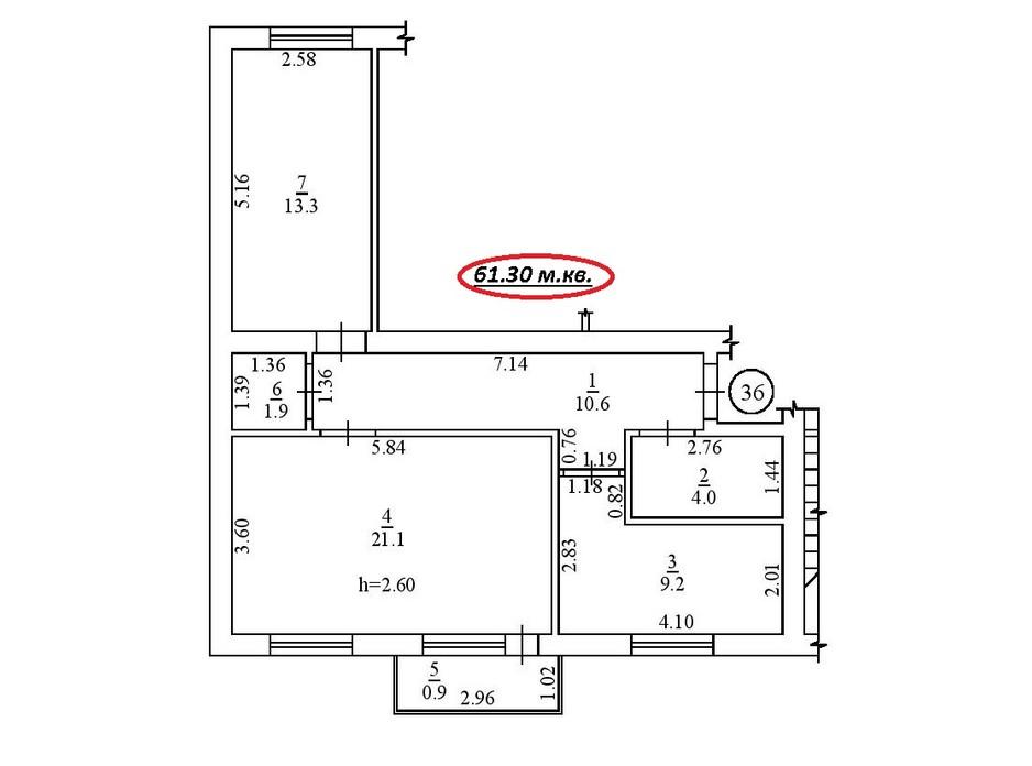 Планировка 2-комнатной квартиры в ЖК пер. Лютневый, 3 61.3 м², фото 183083
