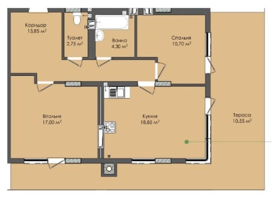 Планировка 2-комнатной квартиры в ЖК Комфорт Плюс 78 м², фото 183353