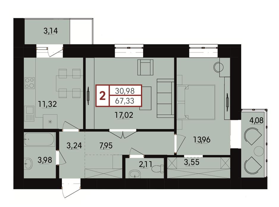 Планировка 2-комнатной квартиры в ЖК Вишневый 67.33 м², фото 183428