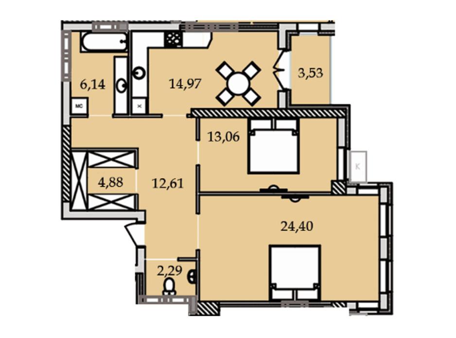 Планування 2-кімнатної квартири в ЖК Premier Tower 82.02 м², фото 184449