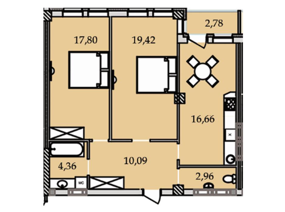 Планування 2-кімнатної квартири в ЖК Premier Tower 74.2 м², фото 184452