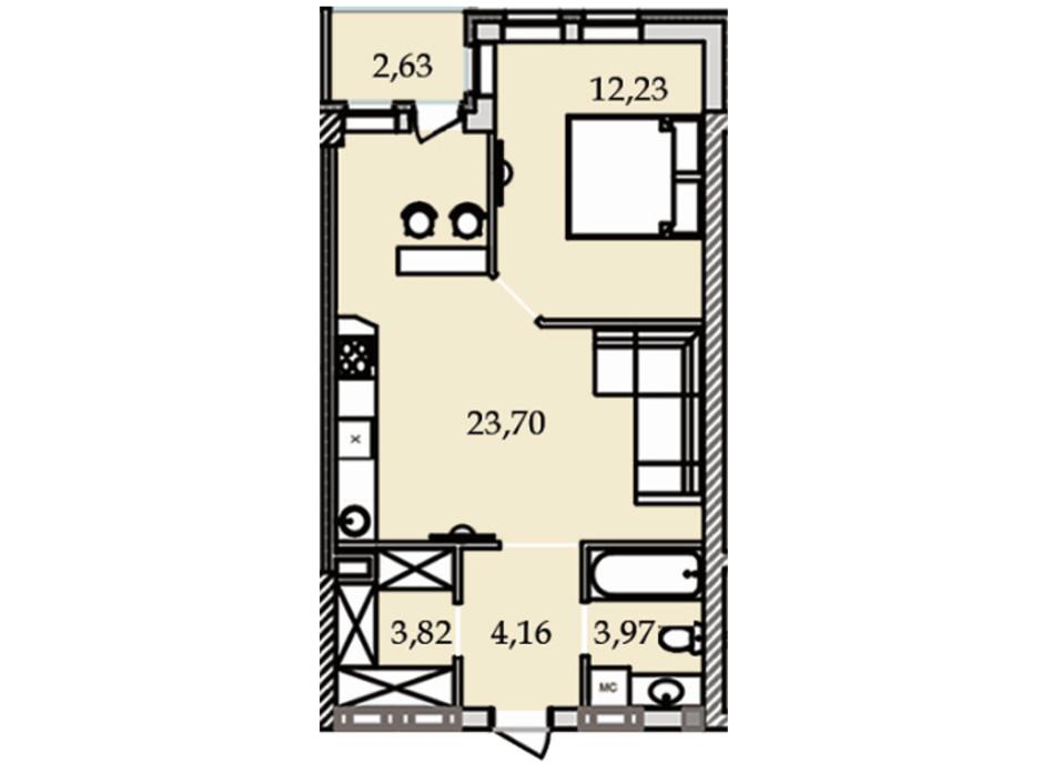 Планування 1-кімнатної квартири в ЖК Premier Tower 50.57 м², фото 184453
