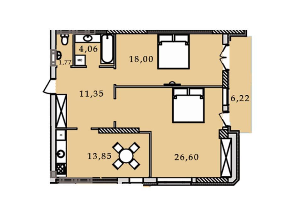 Планировка 2-комнатной квартиры в ЖК Premier Tower 81.87 м², фото 184466