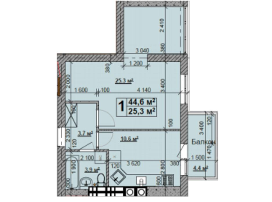Планування 1-кімнатної квартири в ЖК Нова Конча-Заспа 44.6 м², фото 185173