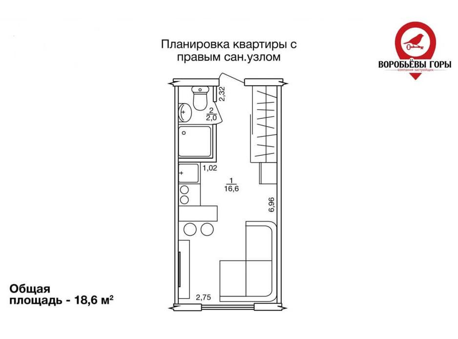 Планировка 1-комнатной квартиры в ЖК Воробьевы горы 19 м², фото 185294