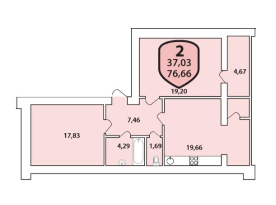 Планування 2-кімнатної квартири в ЖК Олімпійський 76.66 м², фото 185467