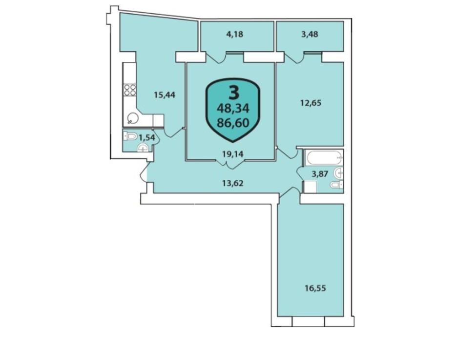 Планування 3-кімнатної квартири в ЖК Олімпійський 86.6 м², фото 185470