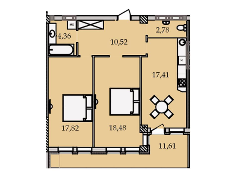 Планировка 2-комнатной квартиры в ЖК Premier Tower 83.13 м², фото 186448