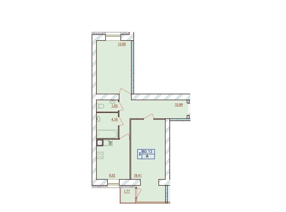 Планировка 2-комнатной квартиры в ЖК Европейский Двор 60.13 м², фото 187218