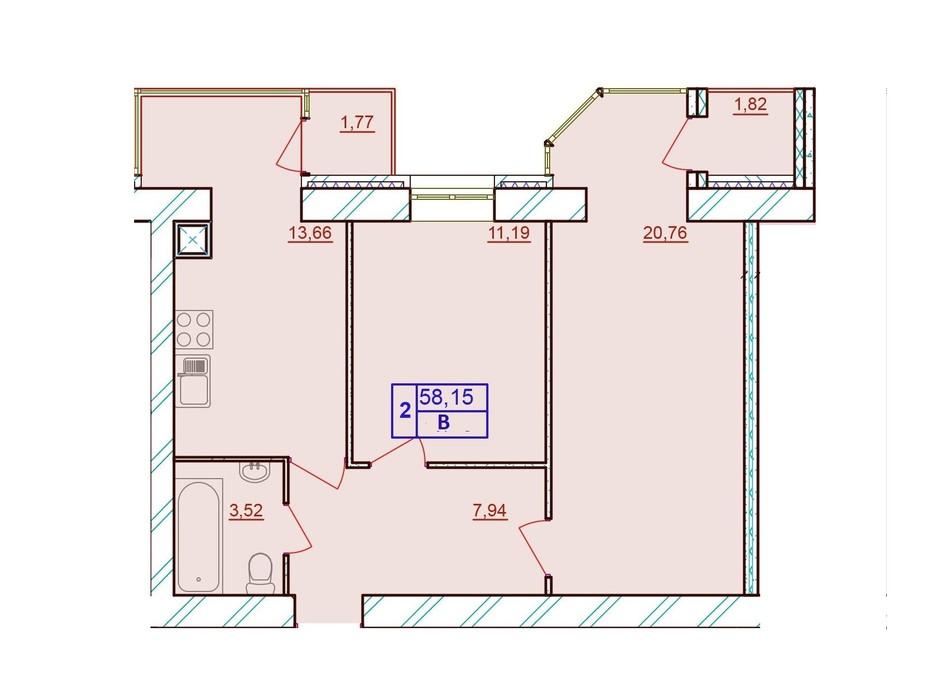 Планировка 2-комнатной квартиры в ЖК Европейский Двор 58.15 м², фото 187228