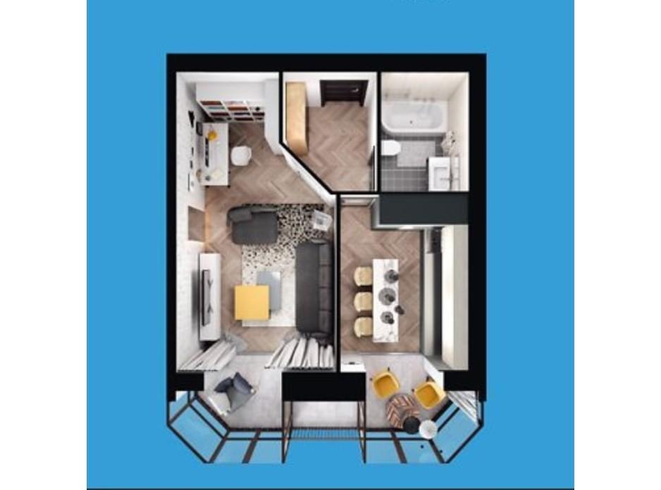 Планировка 2-комнатной квартиры в ЖК Европейский Двор 58.15 м², фото 187229