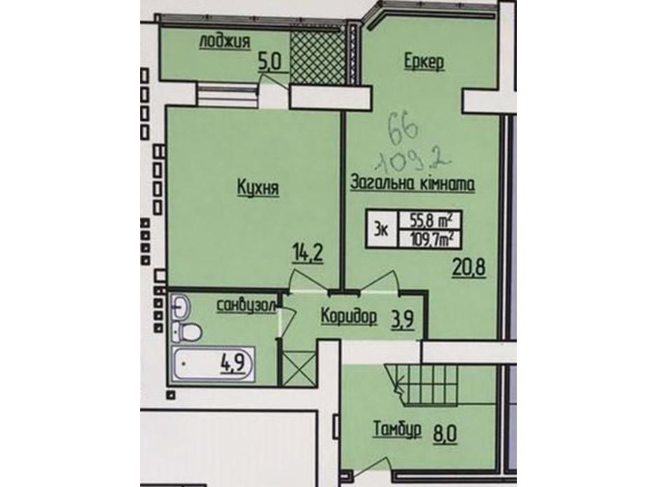 Планування багаторівневої квартири в ЖК Лісовий квартал 109.2 м², фото 187302