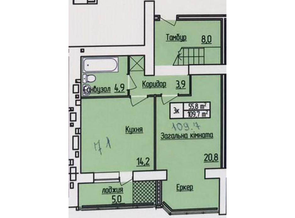 Планування багаторівневої квартири в ЖК Лісовий квартал 109.7 м², фото 187304