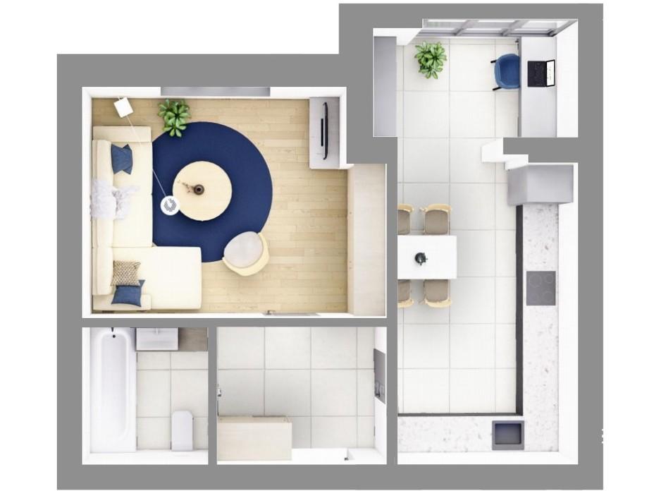 Планировка 1-комнатной квартиры в ЖК На Щасливому, дом 29 48 м², фото 187450