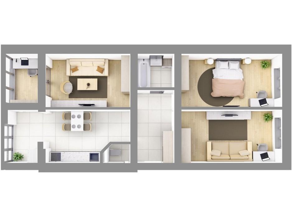 Планировка 3-комнатной квартиры в ЖК На Щасливому, дом 29 86.6 м², фото 187452