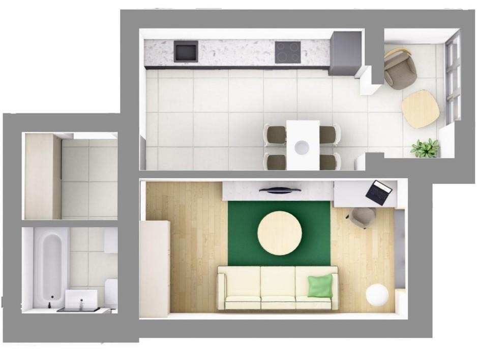 Планування 1-кімнатної квартири в ЖК На Щасливому, будинок 28 43.9 м², фото 187607