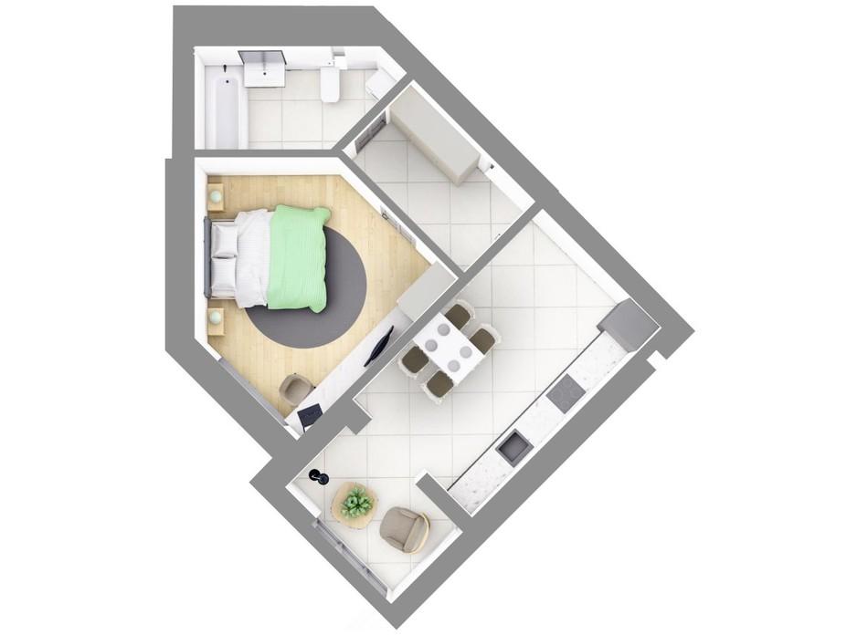 Планування 1-кімнатної квартири в ЖК На Щасливому, будинок 28 45.2 м², фото 187610