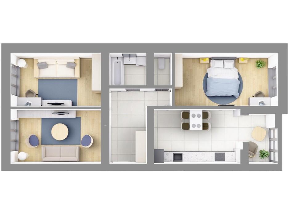 Планування 3-кімнатної квартири в ЖК На Щасливому, будинок 28 83.8 м², фото 187615