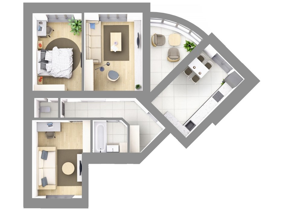 Планування 3-кімнатної квартири в ЖК На Щасливому, будинок 28 84.8 м², фото 187616