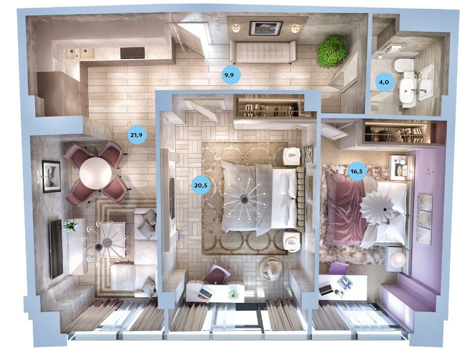 Планування 2-кімнатної квартири в ЖК Авторський район 66.7 м², фото 187721