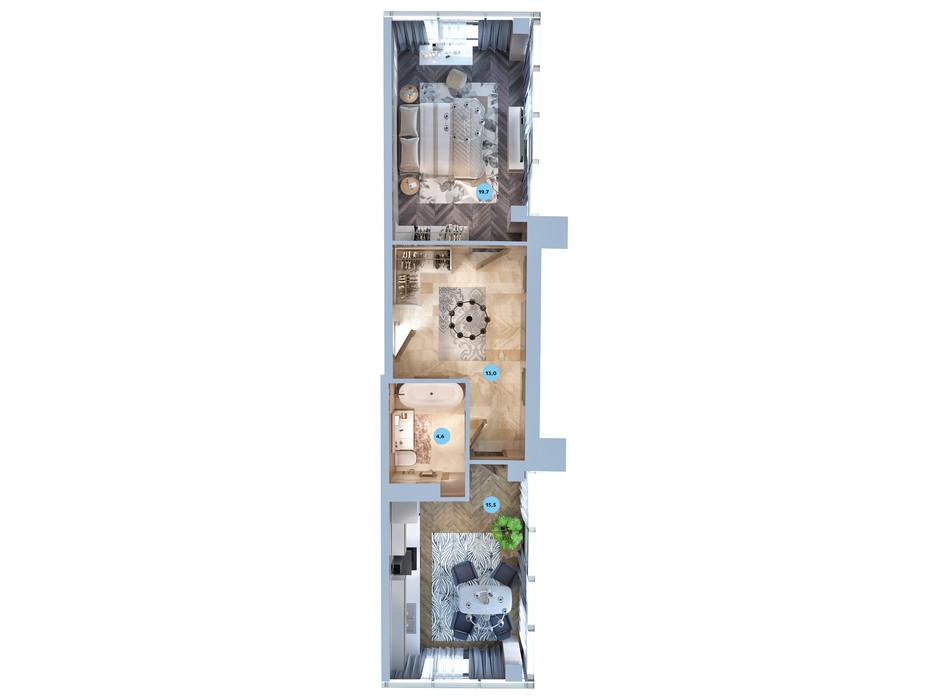 Планування смарт квартири в ЖК Авторський район 53.1 м², фото 187722