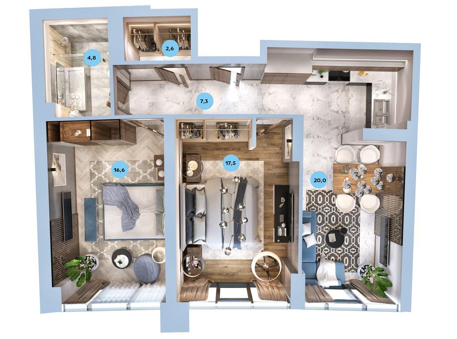 Планування 2-кімнатної квартири в ЖК Авторський район 70.75 м², фото 187723