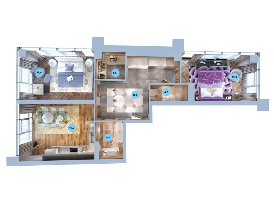 Планування 2-кімнатної квартири в ЖК Авторський район 76.8 м², фото 187725