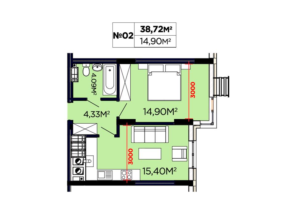 Планування 1-кімнатної квартири в ЖК Щасливий 38.72 м², фото 188082